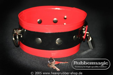Lockable latex-collar with chrome-padlock,Rubbermagic,Latex Bondage
