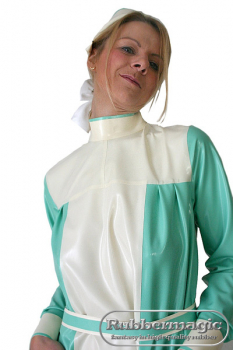 Jaunty latex nurse's lab coat with latex belt