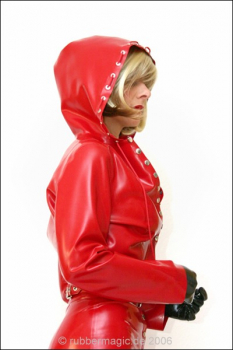 Latex short jacket with hood