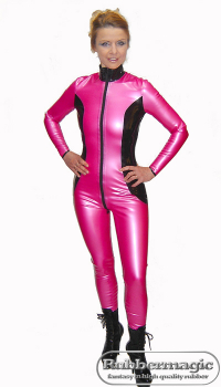 "Latex catsuit ""Fuchsie"" with front zipper 0,60 mm"