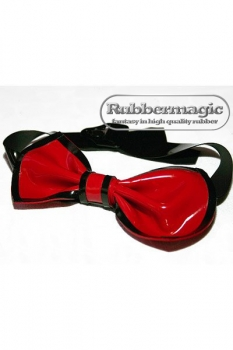 Latex bow tie / garter old golg metallic/black