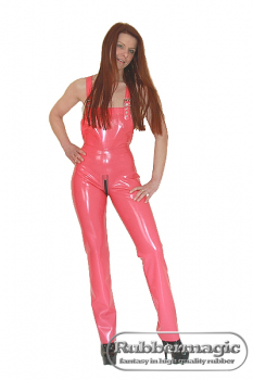Latex dungarees form fitting