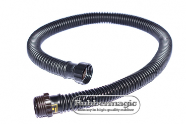 Rubber corrugated tube with 2 black round thread connectors 40 x 1/7""