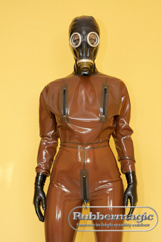 Ladies latex bat catsuit with attached gasmask and breast zippers