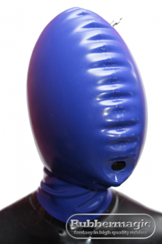 Inflatable latex mask with mouth opening and zipper