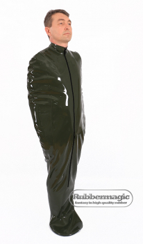 Latex sleep bag with sleeve pockets, foot muff, zipper and options