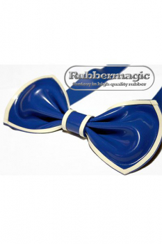Latex bow tie / garter - royal blue/white