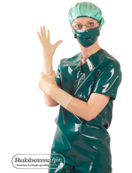 Latex-OP-Kasack,Latex-Klinikbekleidung,Latex-Klinik,Latex-Mundschutz,Latexhaube,Rubbermagic