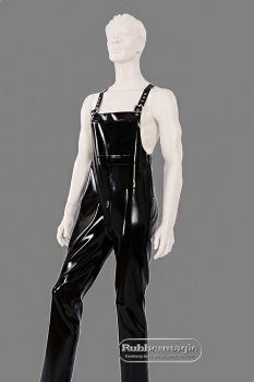 Latex dungarees, loose cut