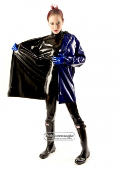 Two-coloured reversible latex jacket