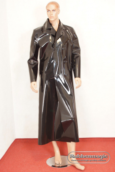 Long, double breasted latex coat , 0,90 mm