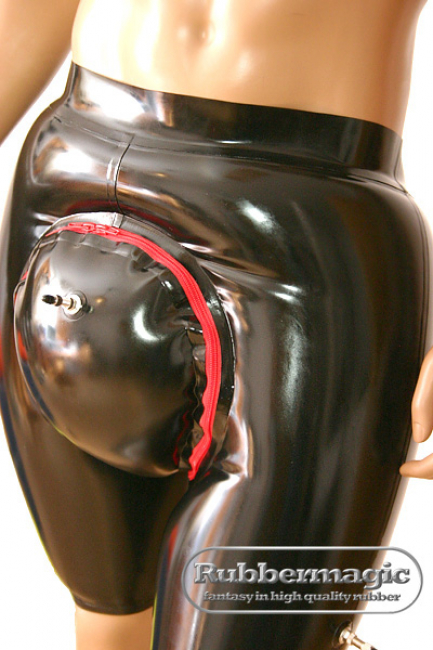 Inflatable knee-length latex trousers with separate inflatable flap, inflatable latex, Rubbermagioc, Rubber, Latex shop. Latex trousers