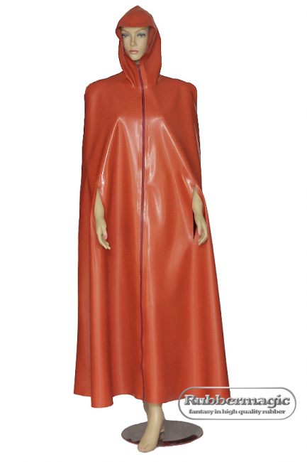 Latex tippet with hood Latex Cape, rubber shop Dresden, rainwear, Latexwear, Rubber clothes