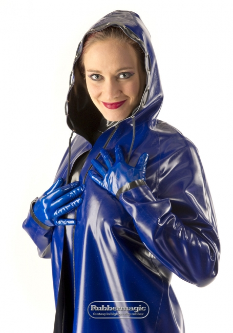 Two-coloured reversible latex jacket,Rubbermagic,rubber store Dresden Germany,latex rain jacket,Latex coat