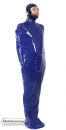 Latex sleep bag with sleeve pockets, foot muff, buckles and options